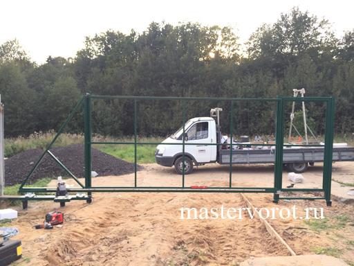 сдвижные ворота с отдельной калиткой